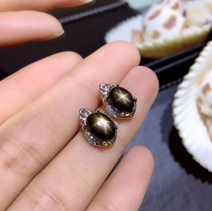 Black Star Sapphire Sterling Silver Earrings; genuine Star Sapphire
