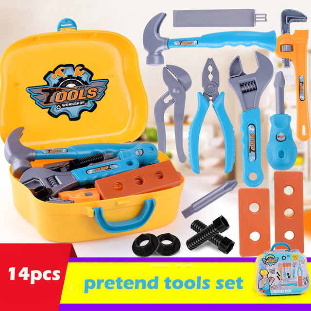 Pretend Repairing Play Tool Kits Set Accessories Kids Diy Construction Educational Toys for Kids and Toddlers Pretend Play T6#
