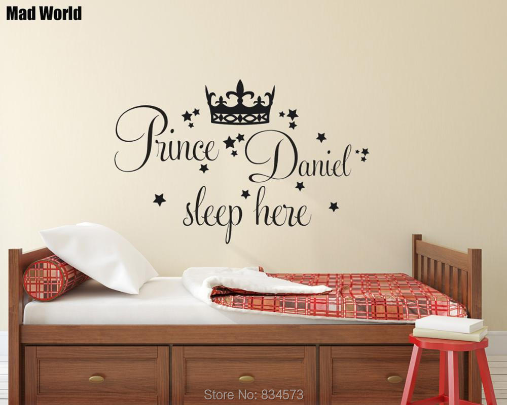 Personalised Prince Custom Name Sleep Here Wall Art Stickers Wall Decal Home DIY Decorat ...