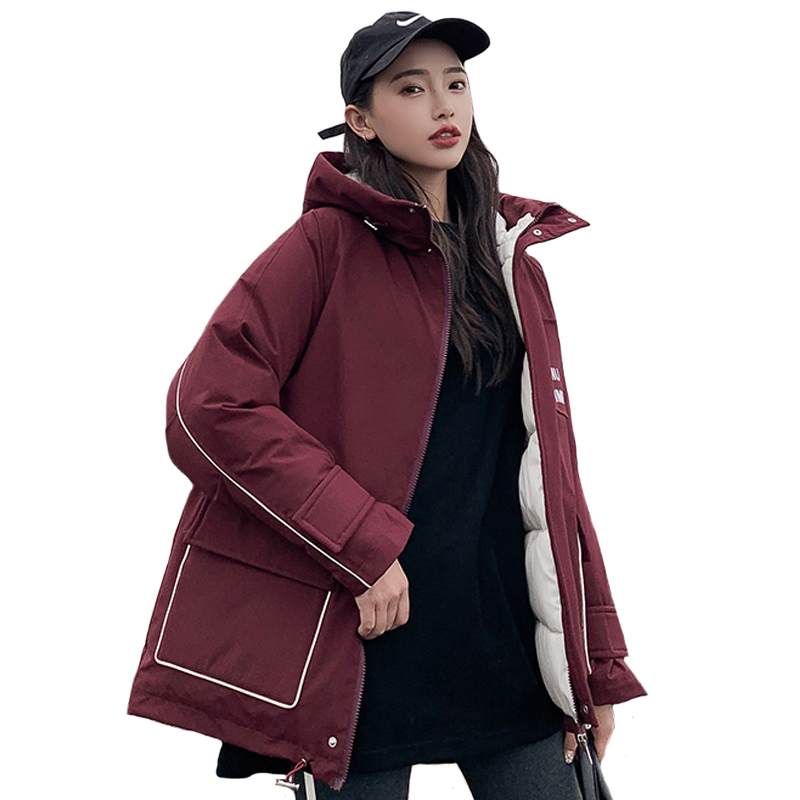 2019 Fashion Women Winter Jacket Hooded With Big Pockets Oversized Loose Female Short Parka Cotton Padded Warm Coat Outerwear in Parkas from Women 39 s Clothing