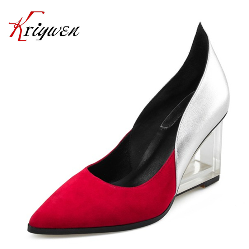 2017 Spring slip on pumps elegant pointed toe fashion female shoes high heels crystal heeled party shoes footwear big size 33-42 loafers fashion round toe slip on women pumps female high heel shoes girls floral top quality brand footwear big size 43