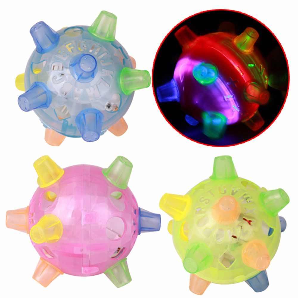 Brinquedo engraçado das crianças presente brinquedo educativo cor aleatória led luz saltando bola crianças música louca saltando bola de dança venda quente
