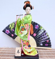 TNUKK Anticient Japanese culture geisha Figurines Hand made home deocration craft 30cm Green color beautiful gifts vintage home.