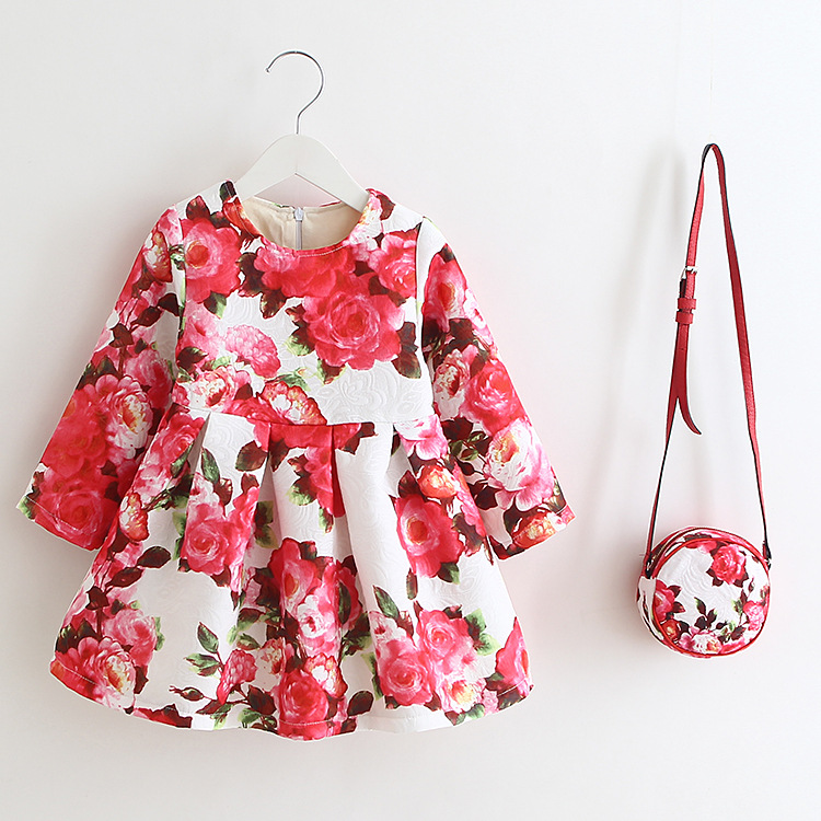 EMS DHL Free Shipping toddler Little Girl's 2017 Floral Dress Europe and America Style With Kid Purse 90-130 free dhl shipping health and wellness