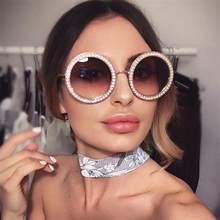 df412825733 luxury metal round sunglasses with crystal 2018 Luxury Italian Brand Retro  round Sun Glasses Female Black Rhinestone Shades