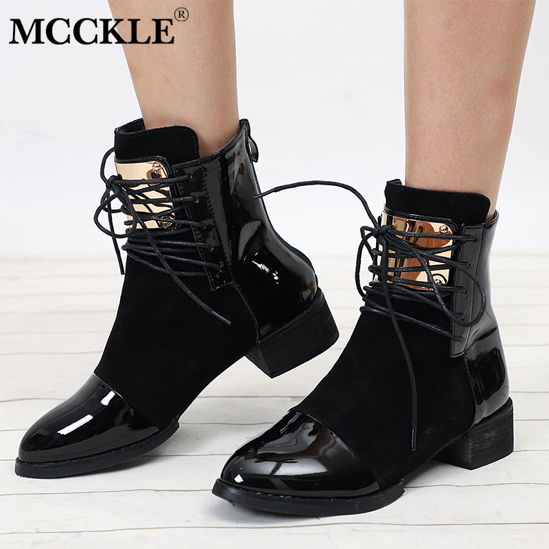 купить MCCKLE Plus Size Women Autumn Ankle Boots Patent Leather Low Heel Shoes Lace Up Glitter Metal Short Boot For Female Casual Shoe по цене 1847.7 рублей