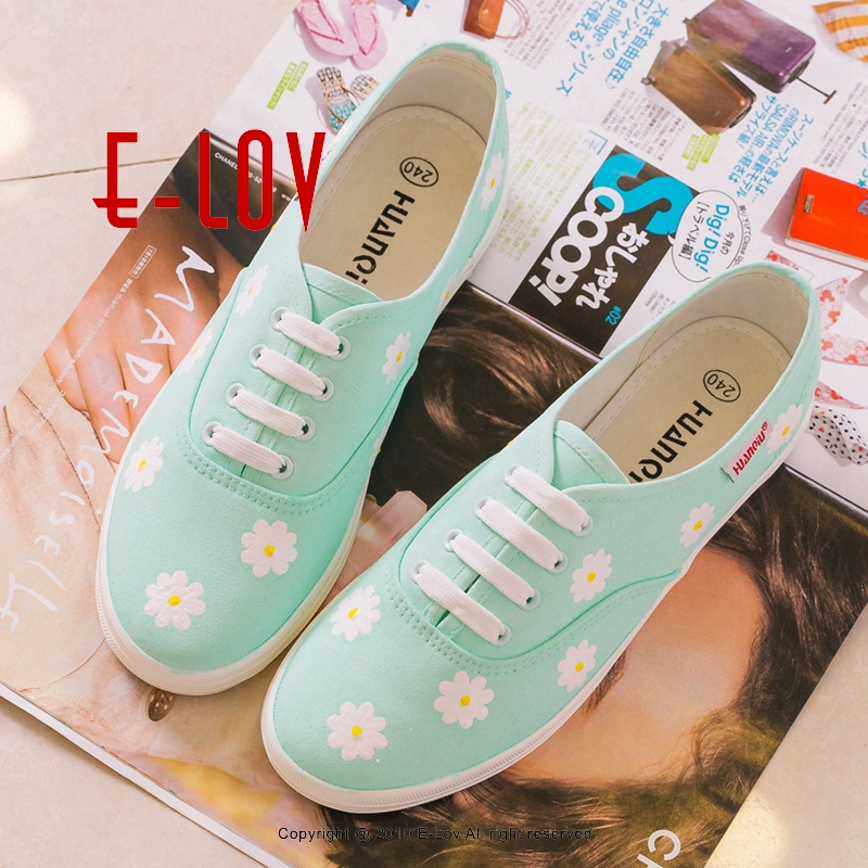 E-LOV Special Custom Painting Designs Mint Green Hand-Painted Canvas Shoes Women Adult Casual Shoes Cute Platform Shoes Brithday e lov hand painted graffiti horoscope canvas shoes custom luminous graffiti gemini casual flat shoes women zapatillas mujer