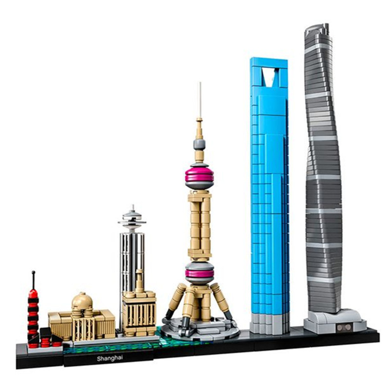 City Architecture Shanghai Skyline Collection Gift LEPIN Toys Building Blocks Sets Bricks Classic Model Kids Compatible Legoe 0367 sluban 678pcs city series international airport model building blocks enlighten figure toys for children compatible legoe