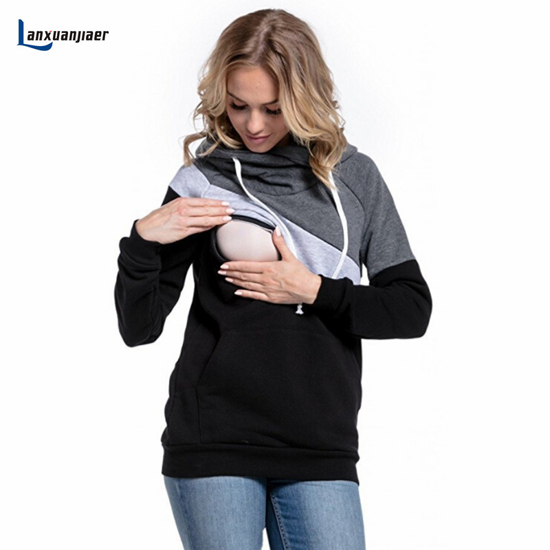 Lanxuanjiaer Maternity patchwork Pregnant Clothes T-Shirt for Pregnancy Woman Breastfeeding Nursing Clothes long sleeve cosutme green home chiffon floral maternity nursing top for pregnant women new sleeve design pregnancy clothes breastfeeding t shirt