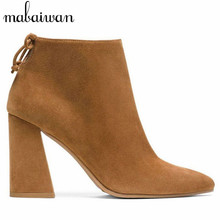 New Fashion Women Square Heel Ankle Boots Pointed Toe Side Zipper Suede Botines Mujer High Heel Women Pumps Short Botas