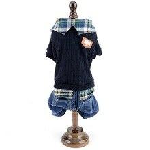 Свитер для маленьких собак с клетчатой рубашкой, теплый ошейник для собак, студенческий стиль, джемпер для домашних животных со штанами, вязаная одежда для щенков на осень и зиму