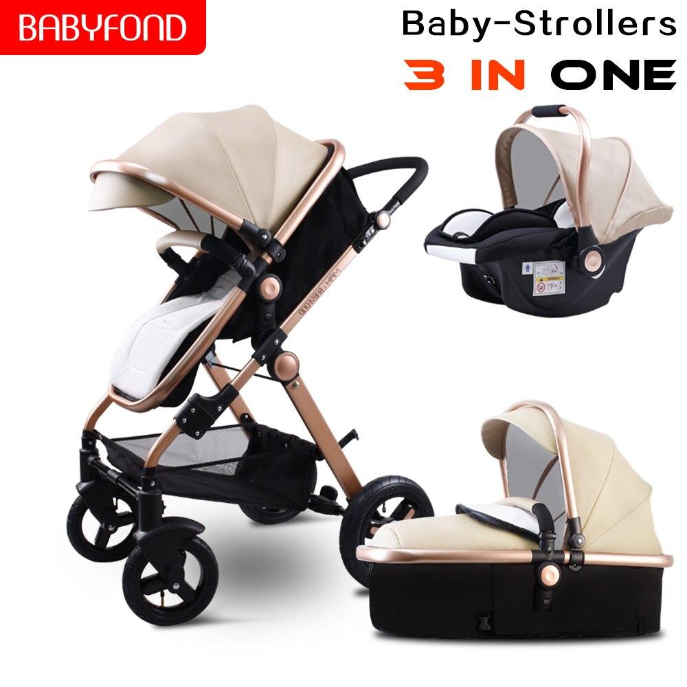 Libre d'impôt! Doré bébé poussette haut paysage bébé voitures 3 en 1 poussette avec siège auto 2 en 1 bébé voiture landau CE sécurité Babyfond PU