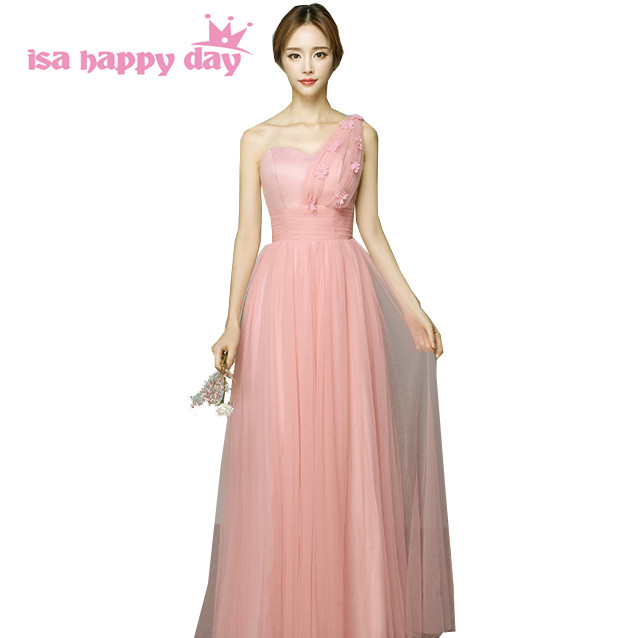 robe princesse mariage girl brides maid long bridesmaid dress blush dresses ball gown one shoulder new 2017 for wedding H3952 ...