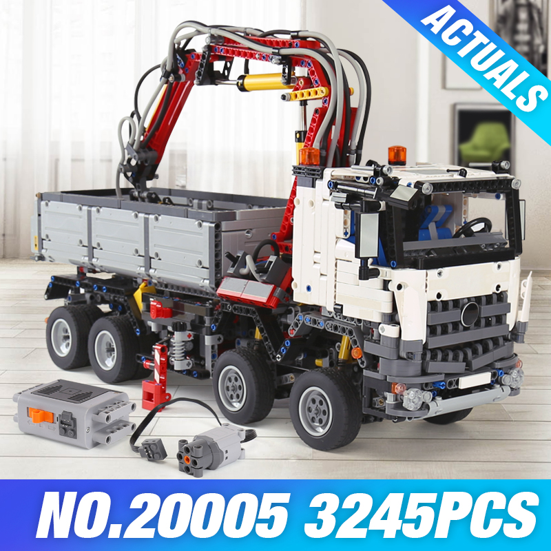 Stock LEPIN 20005 technic series DIY Arocs Model Building Block Bricks Compatible with 42043 Boy's Toy Educational Birthday Gift hot 378pcs technic motorcycle exploiture model harley vehicle building bricks block set toy gift compatible with legoe
