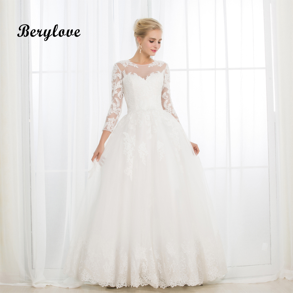 BeryLove White Long Sleeves Ball Gown Wedding Dresses 2018