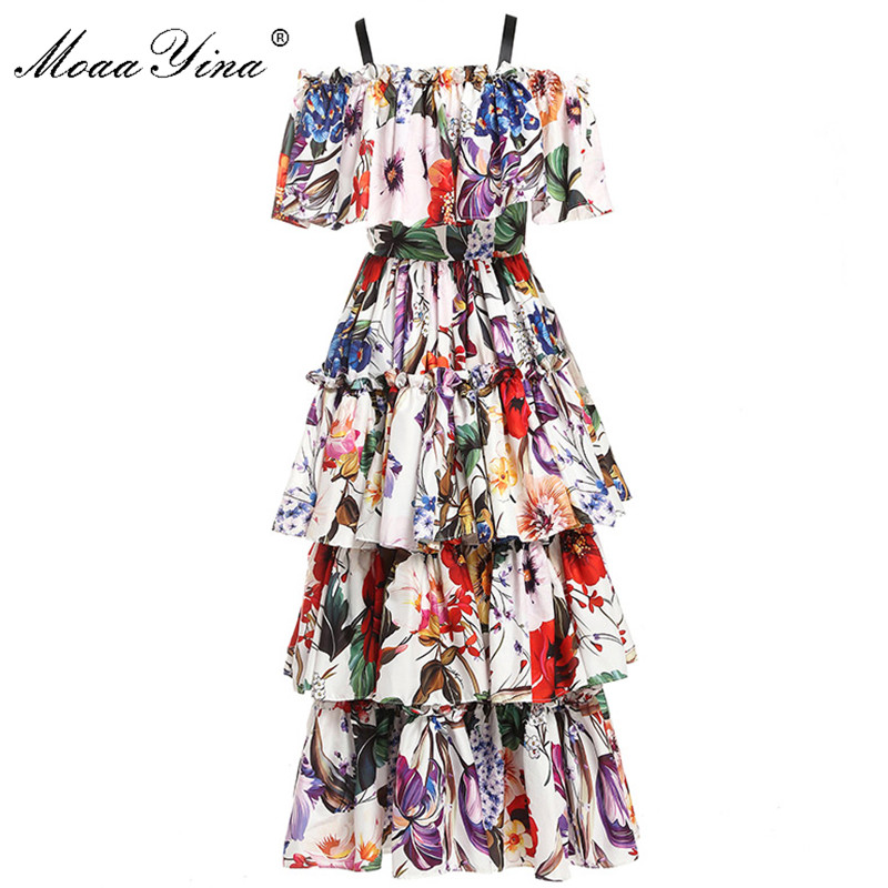 MoaaYina Fashion Designer Runway dress Spring Summer Women Dress Floral-Print Cascading Ruffle Holiday Dresses