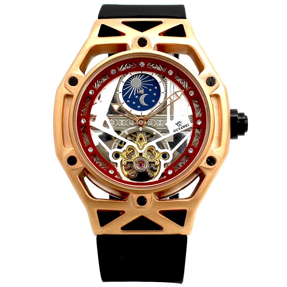 2018 OUYAWEI Для мужчин наручные часы Роскошные Tourbillon Moon Phase автоматические механические часы Мода часы Reloj Hombre Automatico