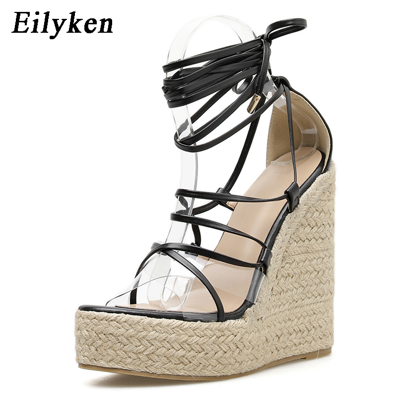 Eilyken Fashion Summer Wedges Women Sandals Open Toe Ankle Strap Ladies Platform Wedges Sandals High heels Shoes size 35-42