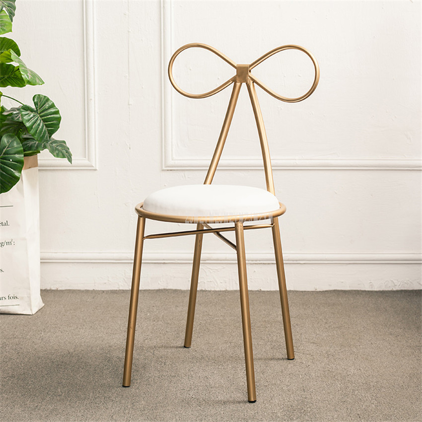 American Country Modern Design Gold Color Iron Metal Dining Chair Butterfly Backrest Leisure Dressing Chair Soft Seat Cushion free shipping dining stool bathroom chair wrought iron seat soft pu cushion living room furniture