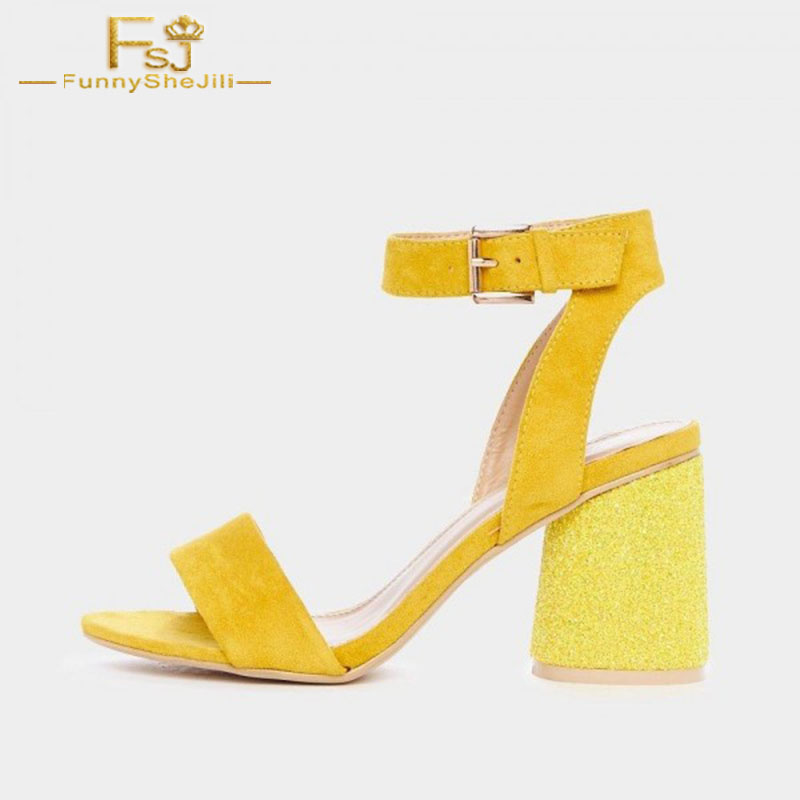 Women Shoes Ladies Pumps 2020 Spring Autumn Yellow Glitter Slingback Block Heels  Plus Size Shoes11 12 13