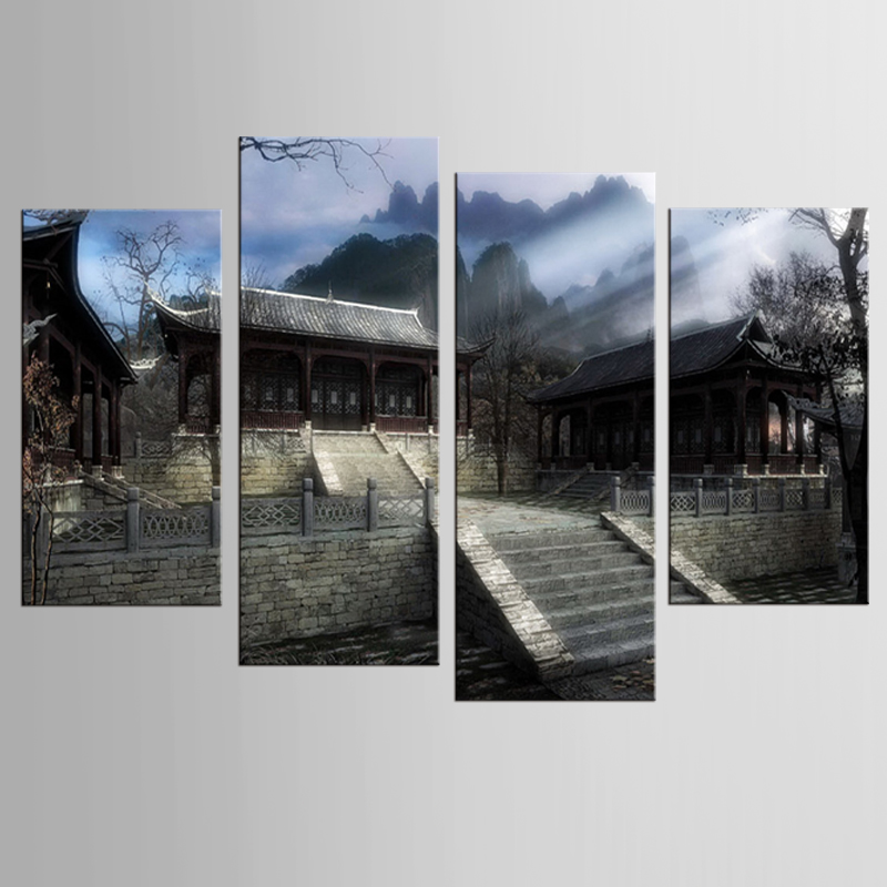 Chinese Retro Architecture Fresco Art Oil Painting Furniture Furniture Wall  4 Modern Canvas Painting Home Decoration