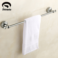 Retro Carved Solid Brass Bathroom Towel Bar Single Towel Rack Chrome Polished