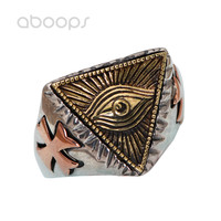 Vintage Three Tone 925 Sterling Silver Freemason Masonic Ring Jewelry Inlaid Cross for Men Women Adjustable Free Shipping