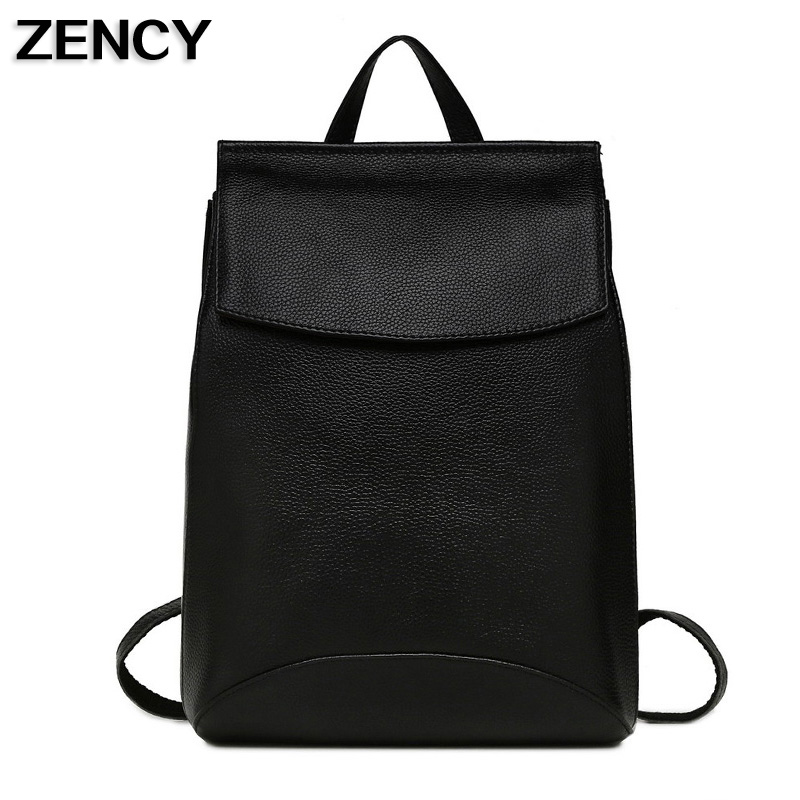 ZENCY Women Genuine Leather Backpacks Ladies Top Layer Cowhide School Bags For Teenagers Backpack Fashion Casual zency genuine leather backpacks female girls women backpack top layer cowhide school bag gray black pink purple black color