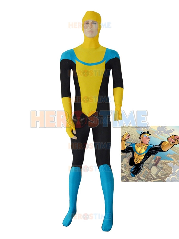 Yellow Custom Invincible Mark Grayson Superhero Costume Halloween Cosplay party Zentai Suit Free Shipping
