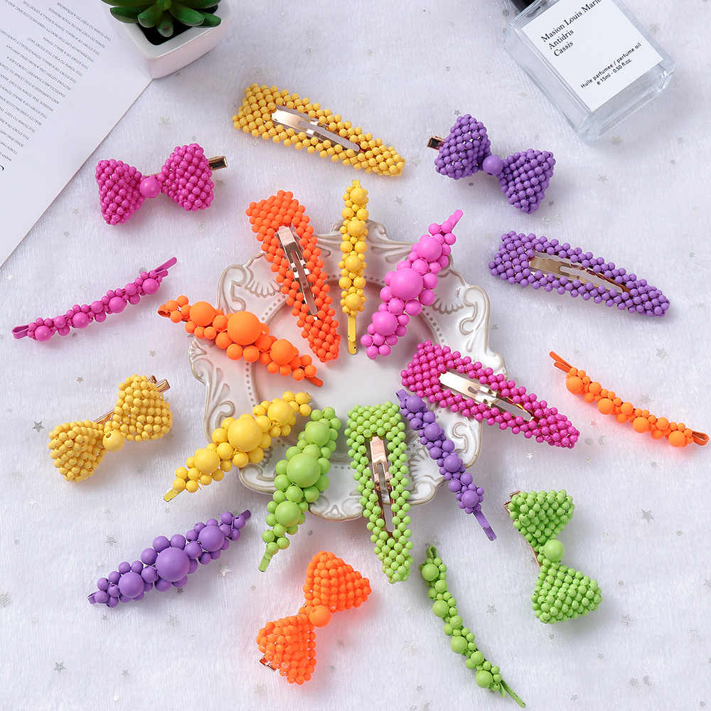 Colorful Beads Hairpins Barrettes Irregular Geometric Hair Clip Sweet BB Clip Hair Grip for Women Hair Accessories