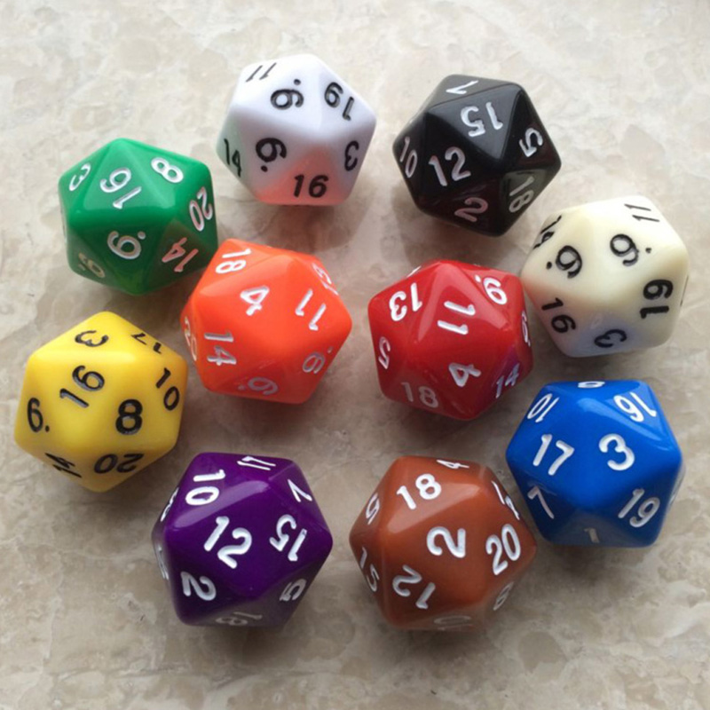 6pcs/Set D20 Polyhedral Gaming Dice Twenty Sided Die Number 1-20 For RPG Game