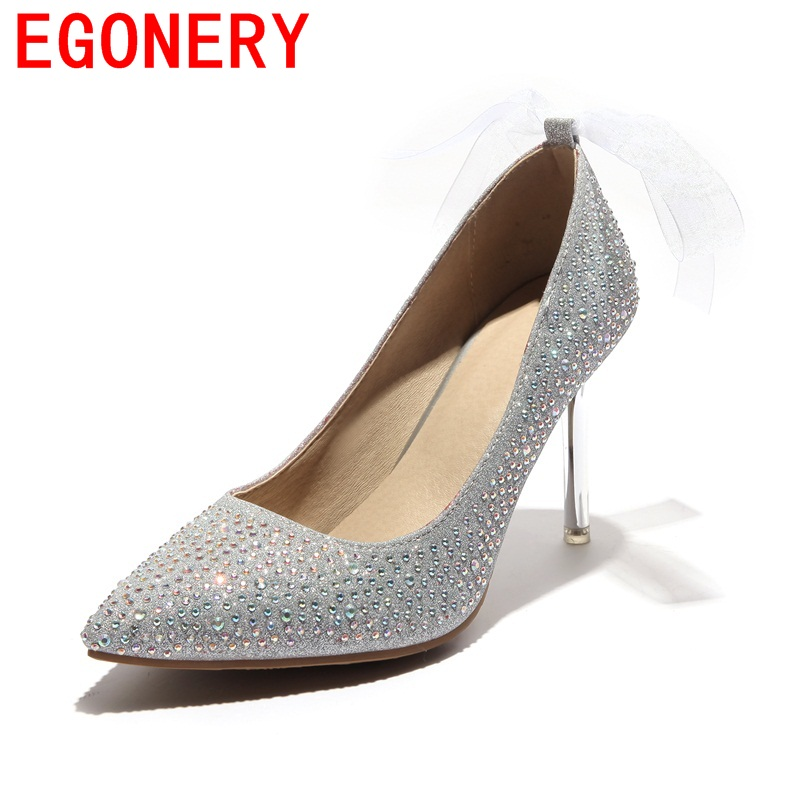 EGONERY zapatos mujer stiletto crystal riband decoration woman pumps super high heels pointed toe wedding party spring shoes choudory high heels woman pumps spring autumn flower decoration woman shoes attractive flock pointed toe party zapatos mujer