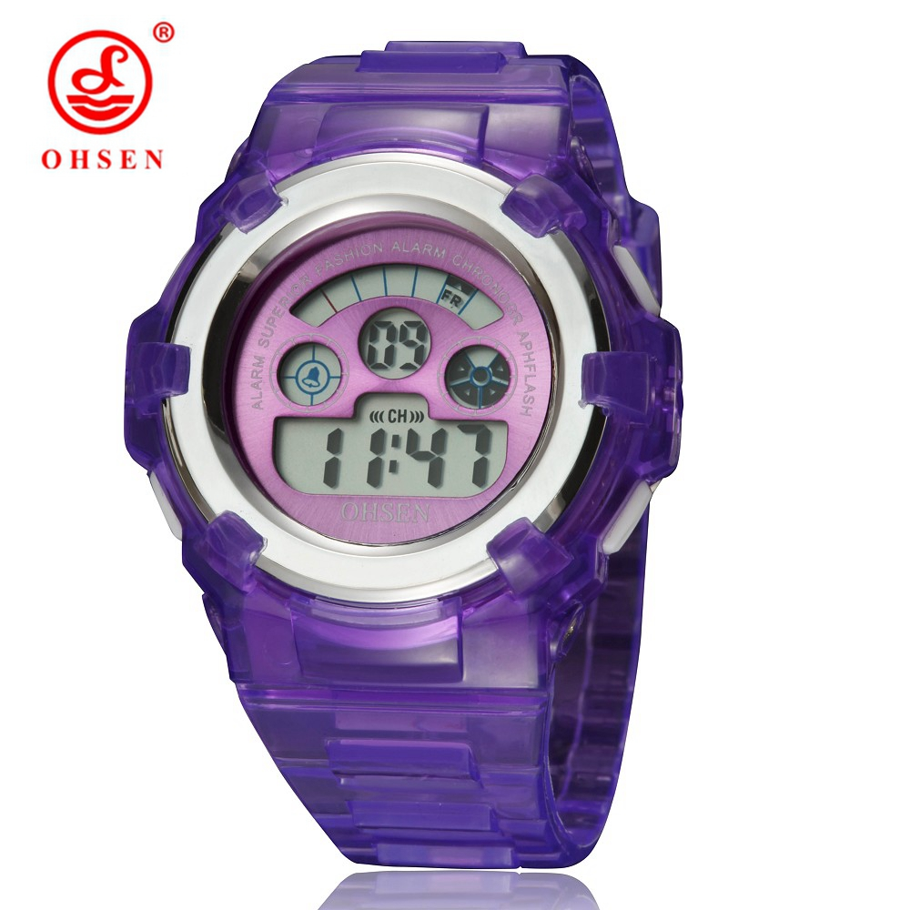New OHSEN Brand Digital Sport Child Girls Gift Watch Purple Rubber Band 30M Waterproof Fashion Cartoon Kids LCD Boys Wristwatch