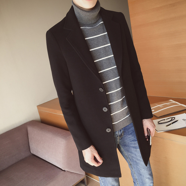 New 2018 Winter Fashion Men's Solid Color Single Breasted Trench Coat / Male Casual Slim Long Woolen Cloth Coat Large Size 5XL