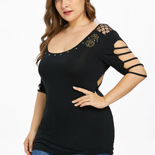 0210a9caf7f Kenancy 5XL Plus Size Ladder Cutout Scoop Neck T-shirt Rhinestone Music  Notes Women Elbow