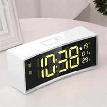 3D изогнутая поверхность экран плавающий шрифт умные зеркальные часы электронные часы прикроватные цифровой светодиодный Будильник Повтор большой дисплей