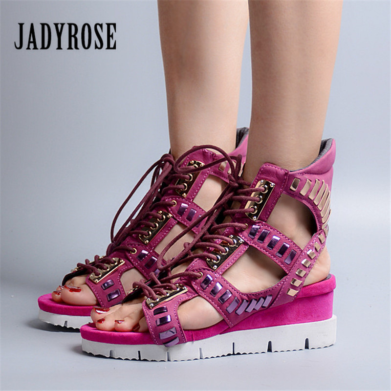 Jady Rose 2018 New Hollow Out Women Sandals Gladiator Platform Wedge Sandal Lace Up Summer Boots Sandalias Mujer Wedges Creepers female gladiator wedges sandal hallow out platforms high wedge shoes women rivets summer sandal beach vintage women size 34 39
