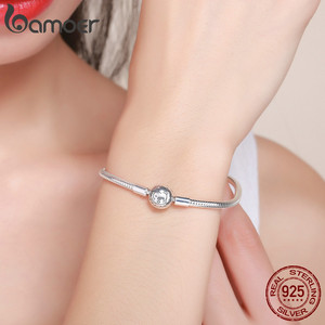Image 5 - BAMOER 100% 925 Sterling Silver Lion Animal Round Clasp Snake Strand Chain Bracelets for Women Sterling Silver Jewelry SCB054