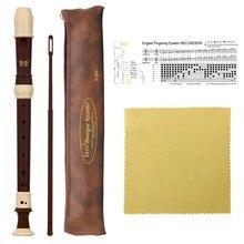 Irin abs gravador soprano clarinete flauta longa barroco gravador fingering instrumento musical acessórios iniciante (café)