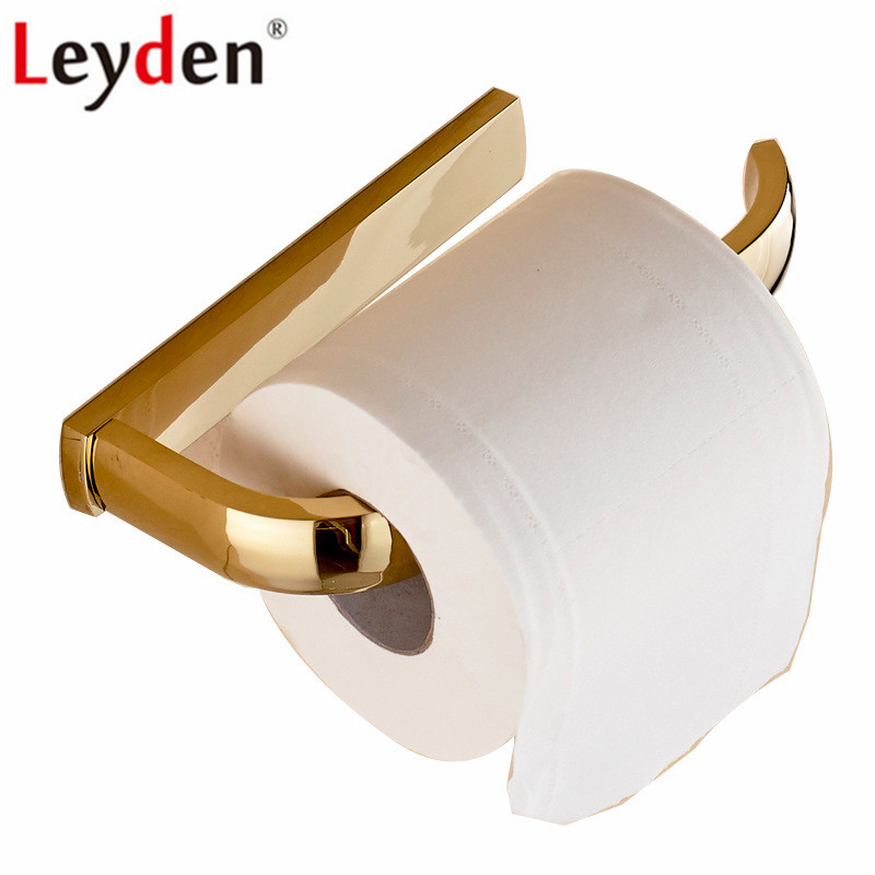 Leyden Gold Toilet paper Holder Solid Brass Bathroom Tissue Holder Lavatory Wall Mounted Roll Paper Holder Bathroom Accessories wall mounted antique bronze finish bathroom accessories toilet paper holder bathroom toilet paper roll holder tissue holder