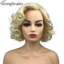 StrongBeauty pelucas sintéticas cortas para mujer, resistente al calor cabello rubio, rizado