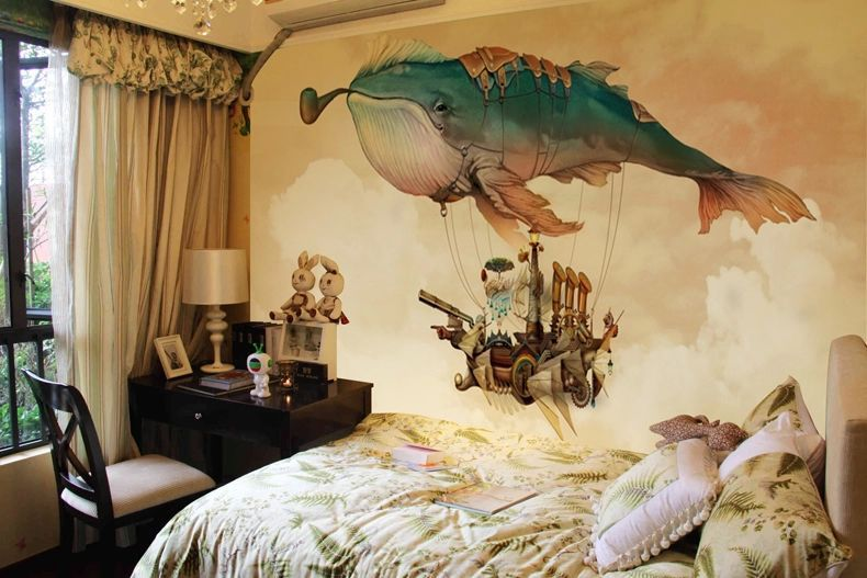 Creative 3D Whale Mural wallpaper Non Woven Wall Mural For Kids Wall ...