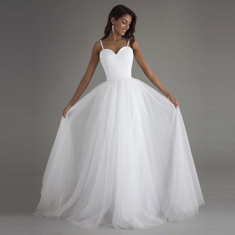 Spaghetti Strap White Tulle Beach Wedding Dress