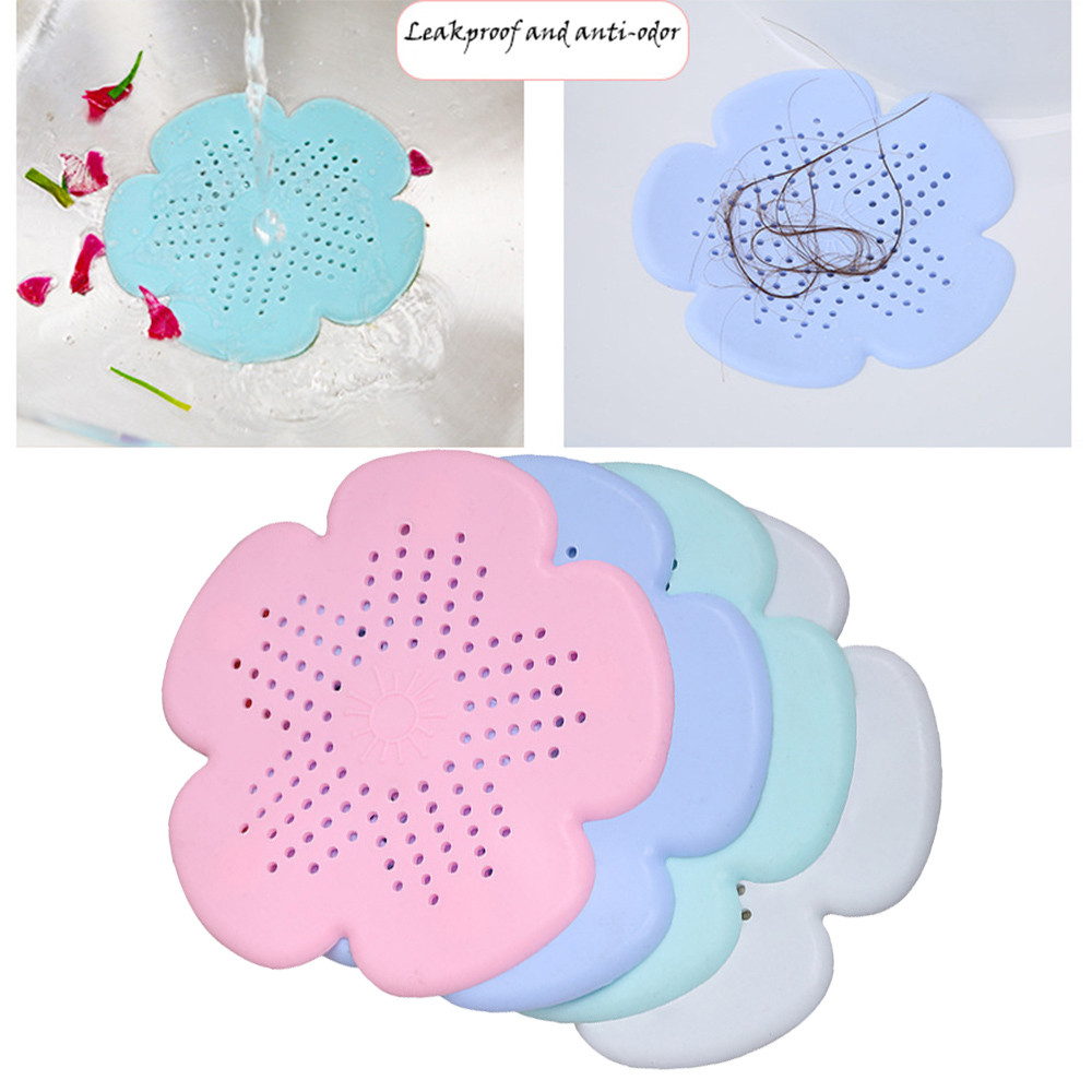 Drain Strainers New Cherry Blossom Sewer Drainage Filter Bathroom Sink Kitchen Plug Anti-blocking Sewage Covers Floor Covering Hair Filter Blue