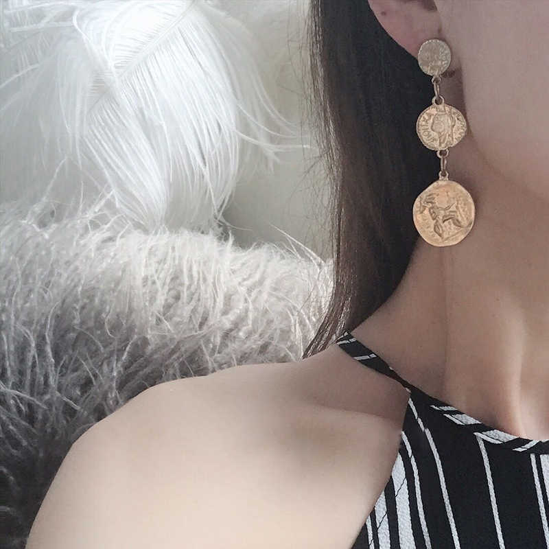 SRCOI Vintage Round Coin Long Earrings Pendant Indian Gold Color Geometric Metal Chain Tassel Statement Earrings Women Jewelry
