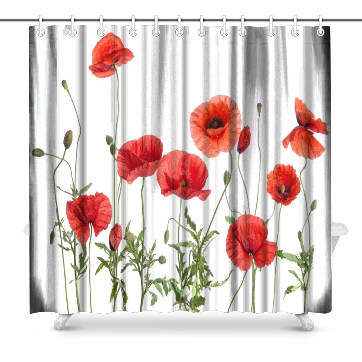 Aplysia Red Poppies Bathroom Shower Curtain Accessories 72 Inches