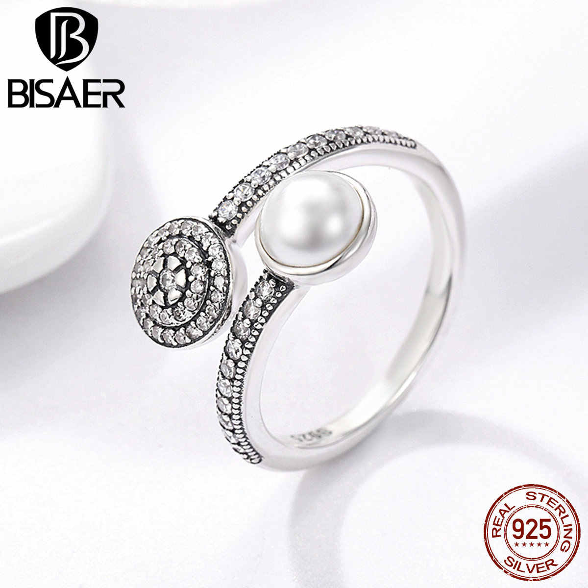 925 Sterling Silver Luminous Glow, White Simulated Pearl & Clear CZ Finger Rings for Women Authentic Silver Engagement Jewelry
