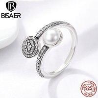 925 Sterling Zilver Lichtgevende Glow, wit Gesimuleerde Pearl & Clear CZ Vinger Ringen voor Vrouwen Authentieke Zilveren Engagement Sieraden