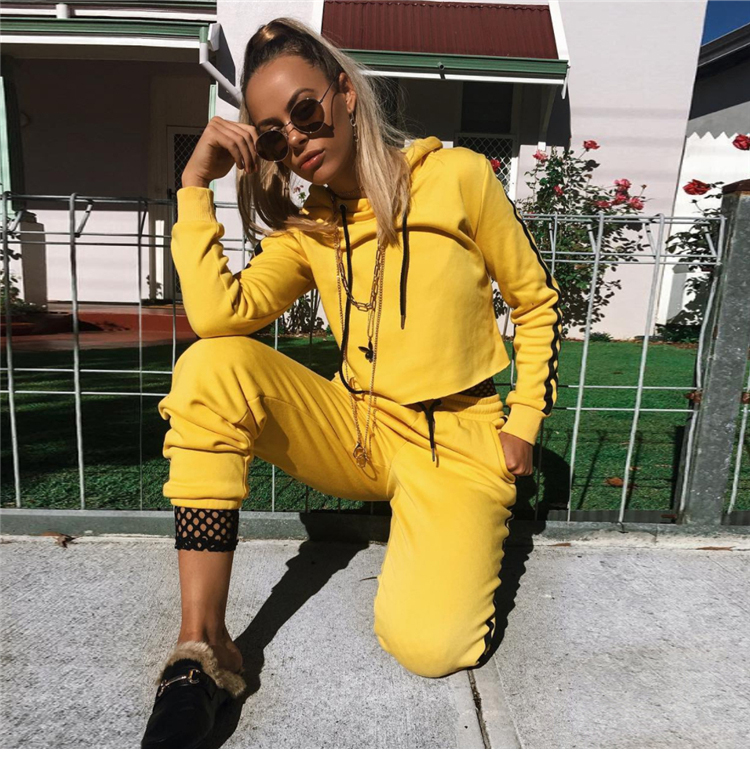 Zogaa 2019 Hoodies Tracksuits for Women 2 Pcs Autumn Women Clothing Stripe Print Bodycon Hoodies Sweatshirt Skinny Pants Sets