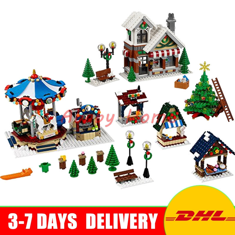 DHL Lepin 36002 Winter Toy Shop+ 36010 Winter Village Market Model Building Block Bricks Toys Christmas Gifts 10235 10249 lepin 36010 creative series 1412pcs the winter village market set 10235 building blocks bricks educational toys christmas gifts